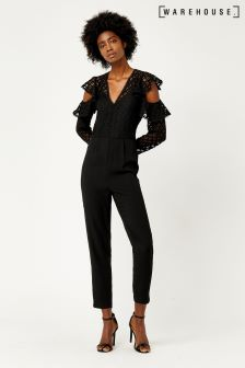 Warehouse Black Geo Lace Jumpsuit