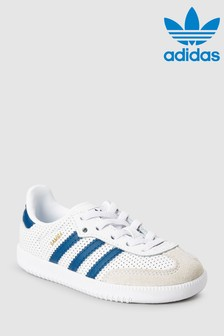 adidas Originals White/Navy Samba OG Junior
