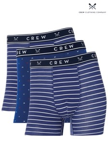 Crew Clothing Company Blue Mixed Boxers Three Pack