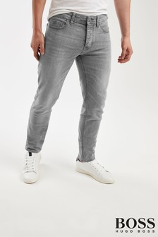BOSS Grey Taber Tapered Fit Jeans
