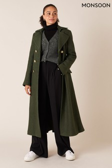 Monsoon Green Military Long Coat