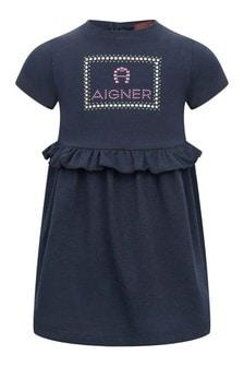 Baby Girls Navy Cotton Logo Dress