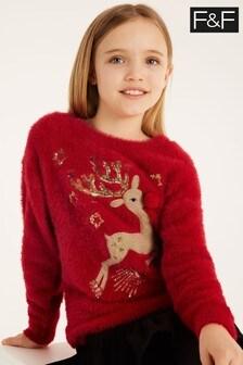 F&F Red Christmas Reindeer Jumper