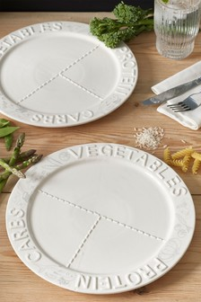 Set of 2 Embossed Portion Plates