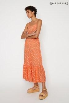 Warehouse Red Spot Tiered Maxi Dress