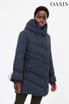 Oasis Blue Elsbeth Wrap Front Padded Coat