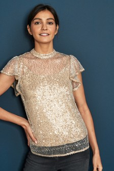 Mesh Sequin Layer Top