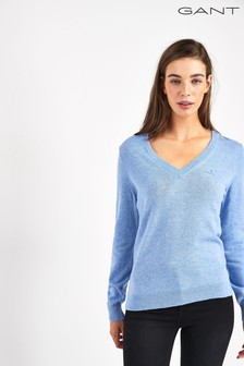 GANT Womens Blue Superfine Lambswool V-Neck Sweater