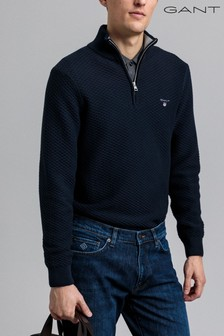 GANT Blue Triangle Texture Half Zip Top