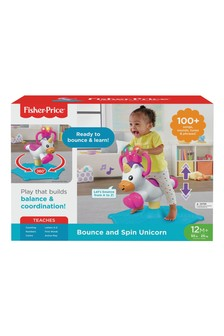 Fisher-Price Bounce and Spin Unicorn Stationary Musical Ride On Toy