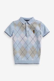 Knitted Argyle Polo Shirt (3-16yrs)
