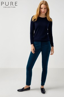 Pure Collection Blue Washed Velvet Jeans