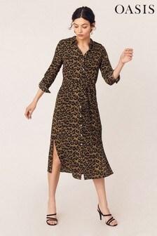 Oasis Animal Leopard Midi Shirt Dress