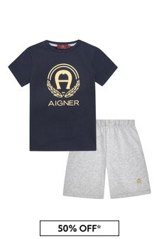 Aigner Unisex Navy Cotton Pyjamas