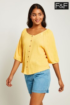 F&F Yellow Balloon Sleeve Button Through Crinkle Top