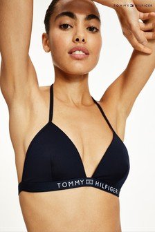 Tommy Hilfiger Blue Core Solid Triangle Bikini Top