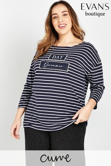 Evans Curve Navy Day Dreamer Stripe T-Shirt