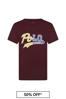 Boys Burgundy Cotton Jersey Polo T-Shirt