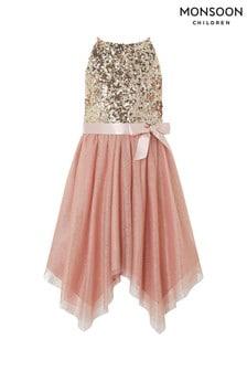 Monsoon Children Pink Foil Spot Hanky Hem Truth Dress