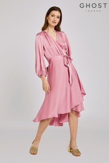 Ghost London Pink Aggie Satin Dress