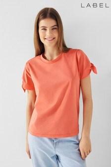 Label Tie Puff Sleeve T-Shirt