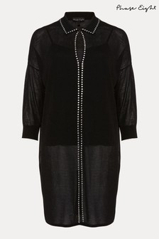 Phase Eight Black Sibyl Stud Collar Tunic Dress