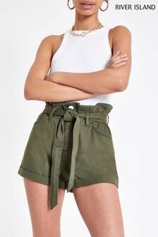 River Island Khaki Mom Belted Shorts