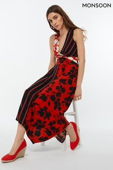 Monsoon Ladies Black Penelope Print Maxi Dress