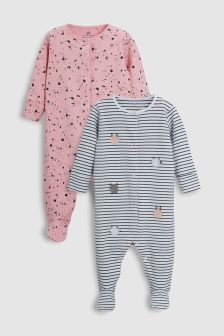 Stripe Embroidered Sleepsuits Two Pack (0mths-2yrs)