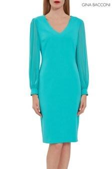 Gina Bacconi Green Lenuta Crepe Dress With Chiffon Sleeves