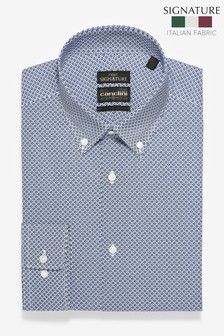 Slim Fit Geometric Print Canclini Signature Shirt