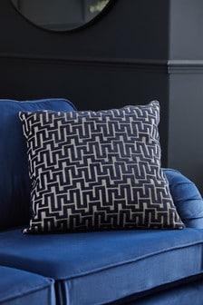 Navy Fretwork Velvet Square Cushion