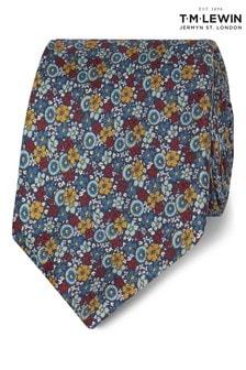 T.M. Lewin Blue Retro Ditsy Floral Silk Slim Tie