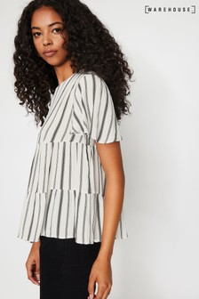 Warehouse Natural/White Stripe Tiered Top