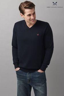 Crew Clothing Company Blue Cotton Silk V-Neck Jumper