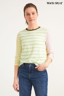 White Stuff Green Mixed Stripe T-Shirt