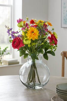 Artificial Floral In Glass Vase