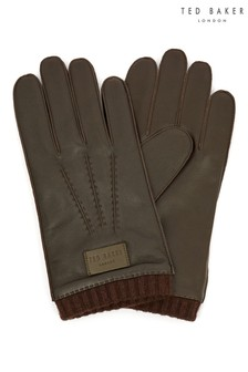 Ted Baker Brown Blokey Ribbed Cuff Leather Gloves