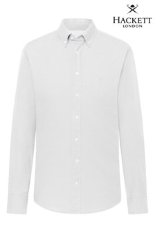 Hackett White Slim Fit Garment Dye Oxford Shirt