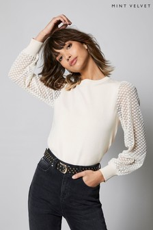Mint Velvet Cream Textured Sleeve Jumper