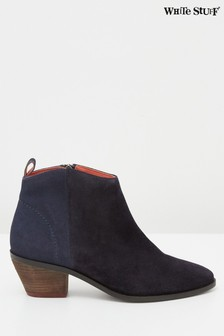 White Stuff Navy Winnie Suede Mid Ankle Boots