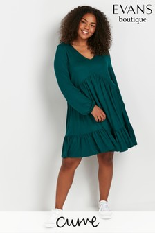Evans Curve Blue Tiered Tunic Dress