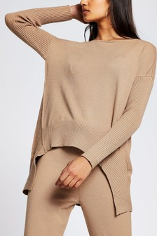 River Island Brown High Low Hem Jumper