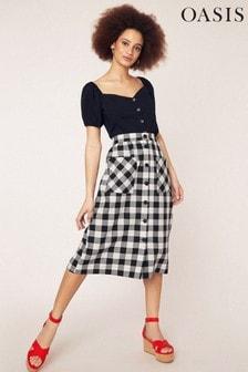 Oasis Black Button Through Gingham Skirt