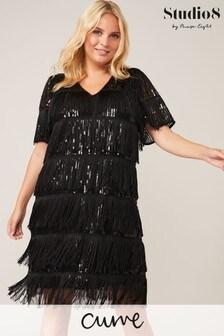 Studio 8 Black Farina Sequin Fringe Dress