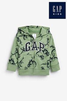Gap Logo Dinosaur Print Zip Through Hoodie