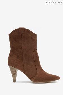 Mint Velvet Brown Cassie Suede Cowboy Boots