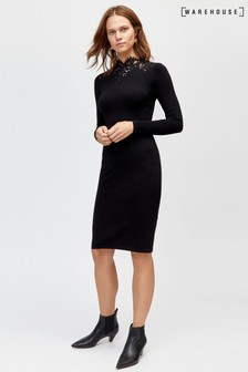 Warehouse Black Lace High Neck Dress