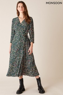 Monsoon Floral Animal Midi Dress In Sustainable Viscose