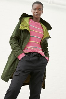 Ruched Sleeve Parka